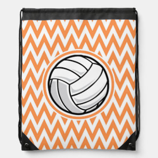 バレーボール; オレンジおよび白いシェブロン ナップサック