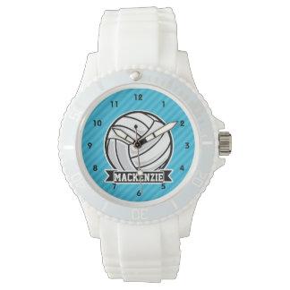 バレーボール; スカイブルーのストライプ 腕時計