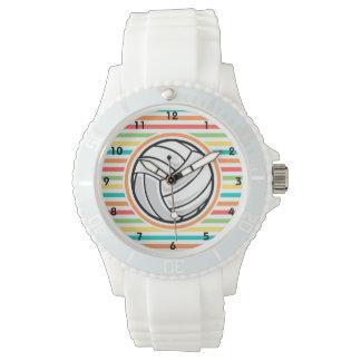 バレーボール; 明るい虹は縞で飾ります 腕時計