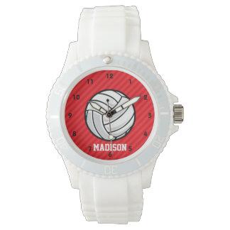 バレーボール; 深紅の赤のストライプ 腕時計