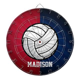 バレーボール; 赤く、白い、および青 ダーツボード