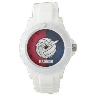 バレーボール; 赤く、白い、および青 腕時計