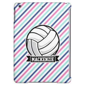 バレーボール; 青く、ピンクの、及び白のストライプ、スポーツ