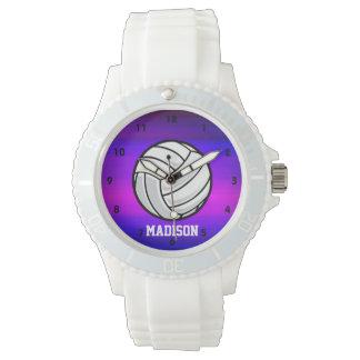 バレーボール; 鮮やかなすみれ色の青およびマゼンタ 腕時計