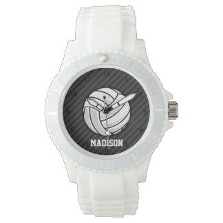 バレーボール; 黒及びダークグレーは縞で飾ります 腕時計