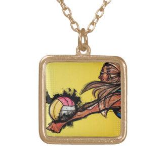 バレーボールDIGGのネックレス ゴールドプレートネックレス
