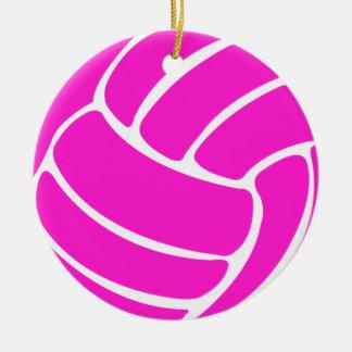 バレーボールW/Nameのオーナメントのピンク セラミックオーナメント