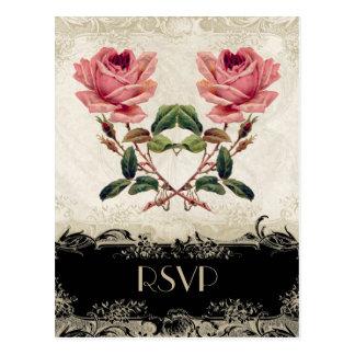 バロック式のスタイルのヴィンテージのバラの黒nのクリーム色のレース ポストカード