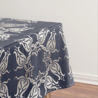 バロック式のスタイルの花の青いパターン テーブルクロス