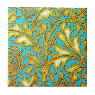 バロック式のティール(緑がかった色)の金ゴールドのアザミ タイル