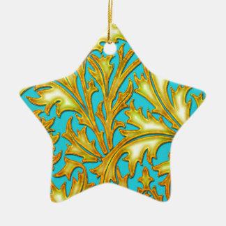 バロック式のティール(緑がかった色)の金ゴールドのアザミ 陶器製星型オーナメント
