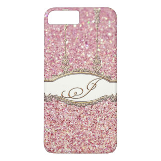 バロック式のロココ様式の金ゴールドのモノグラムJの《写真》ぼけ味のグリッターのピンク iPhone 8 PLUS/7 PLUSケース