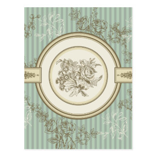 バロック式の花柄 ポストカード