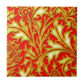 バロック式の赤い金ゴールドのアザミ タイル
