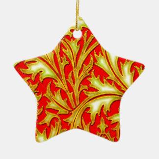 バロック式の赤い金ゴールドのアザミ 陶器製星型オーナメント
