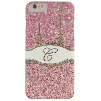 バロック式のRoccocoの金ゴールドのモノグラムCの《写真》ぼけ味のグリッターのピンク Barely There iPhone 6 Plus ケース