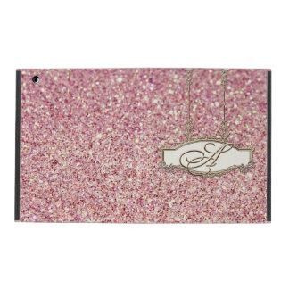 バロック式のRoccocoの金ゴールドのモノグラムwの《写真》ぼけ味のグリッターのピンク iPad ケース