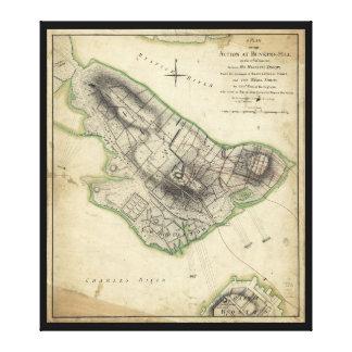 バンカーヒル革命的な戦争の地図(1775年6月17日) キャンバスプリント
