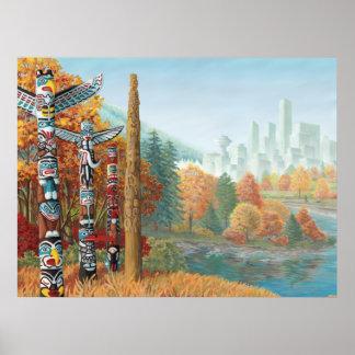 バンクーバーの芸術ポスターバンクーバートーテムポールの絵画 ポスター
