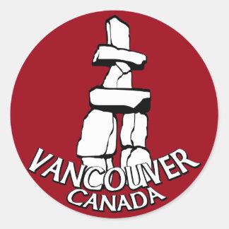 バンクーバーカナダのステッカーのトーテムポールの陸標の芸術 ラウンドシール