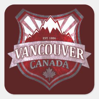 バンクーバーカナダの赤くグランジな盾の正方形のステッカー スクエアシール