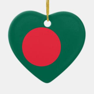 バングラデシュの旗のハートのオーナメント セラミックオーナメント