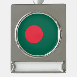 バングラデシュの旗 シルバープレートバナーオーナメント