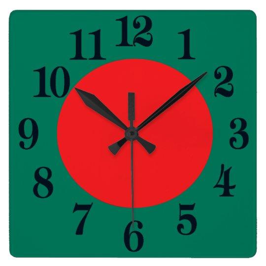 バングラデシュの旗 スクエア壁時計
