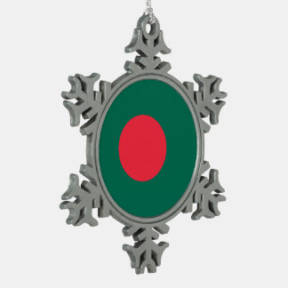 バングラデシュの旗 スノーフレークピューターオーナメント