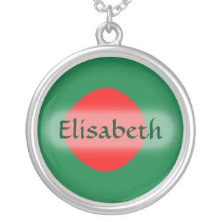 バングラデシュの旗 + 一流のネックレス シルバープレートネックレス