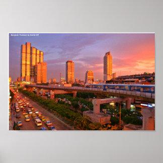 バンコクのスカイトレインの日没、Dによるバンコクタイ… ポスター