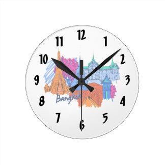 バンコクオレンジ旅行都市graphic.png ラウンド壁時計