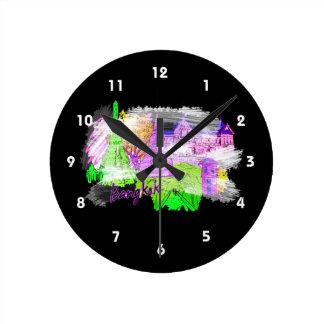 バンコクグランジな紫色旅行都市グラフィックcopy.png ラウンド壁時計