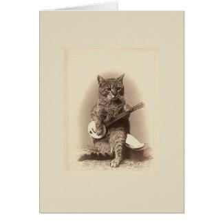 バンジョーのメッセージカードを遊んでいるヴィンテージ猫 カード