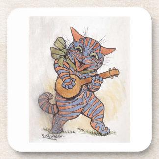 バンジョーのルイWainのヴィンテージの芸術と熱狂するな猫ギフト コースター