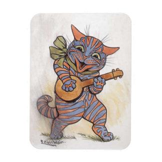 バンジョーのルイWainのヴィンテージの芸術と熱狂するな猫ギフト マグネット