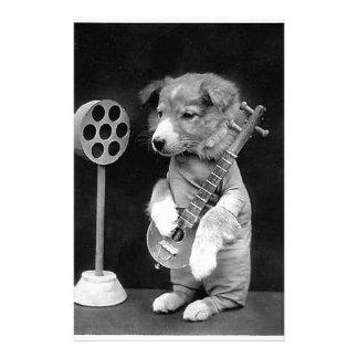 バンジョーの写真の芸術、白黒のかわいいヴィンテージ犬 便箋