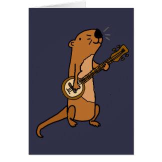 バンジョーを演奏しているおもしろいなラッコ カード