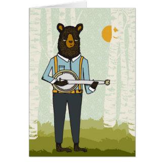 バンジョーを演奏しているくま グリーティングカード