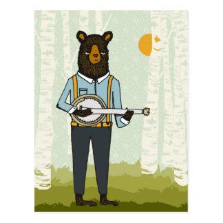 バンジョーを演奏しているくま ポストカード