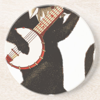 バンジョーを演奏しているヴィンテージ猫 コースター