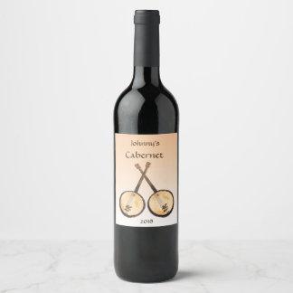 バンジョー音楽楽器のオレンジワインのラベル ワインラベル