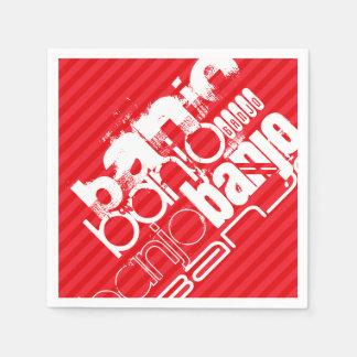 バンジョー; 深紅の赤のストライプ スタンダードカクテルナプキン