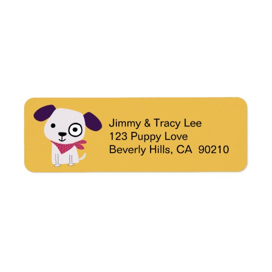 バンダナの小犬、黄色い宛名ラベル ラベル