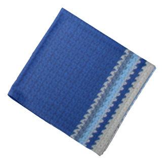 バンダナ-青い縞のかぎ針編み バンダナ