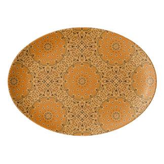 バンダナBBQ BohoのピクニックGlampingの大皿13x9 磁器大皿
