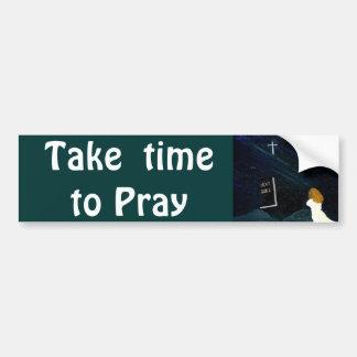バンパーステッカーを祈るのに時間をかけて下さい バンパーステッカー