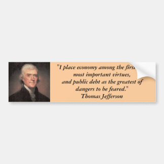 バンパーステッカー: 負債のトーマス・ジェファーソン バンパーステッカー