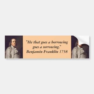 バンパーステッカー: 負債のベンジャミン・フランクリン バンパーステッカー