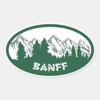 バンフ国立公園のパノラマ 楕円形シール